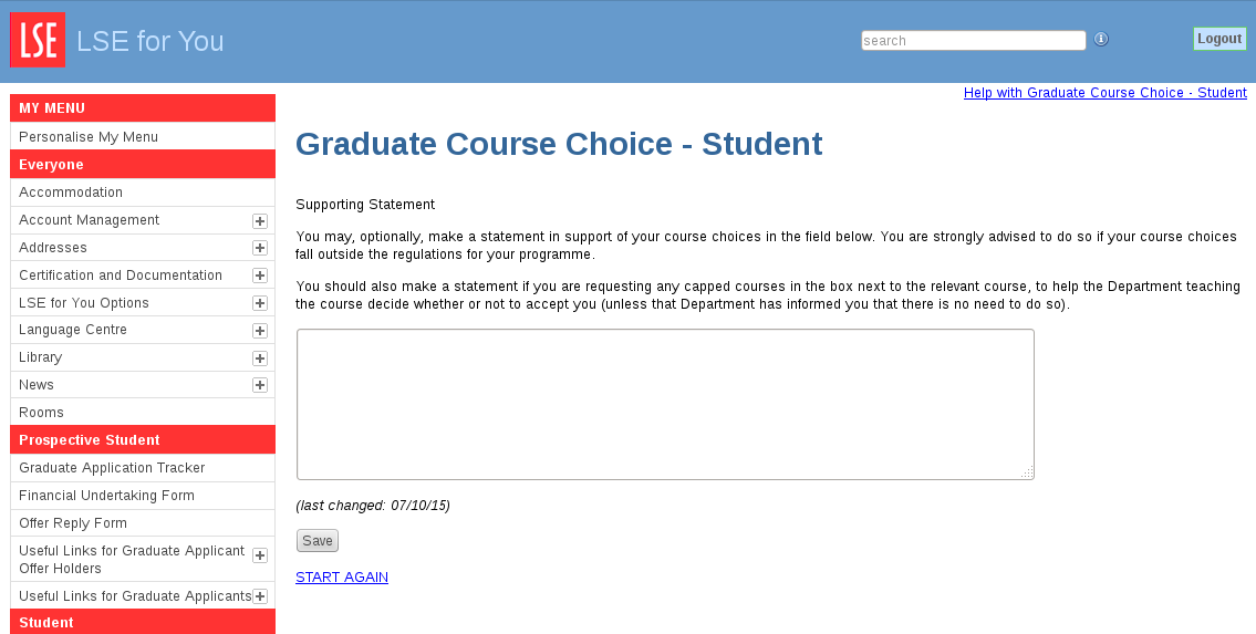 LSE for You - Graduate Course Choice - Student